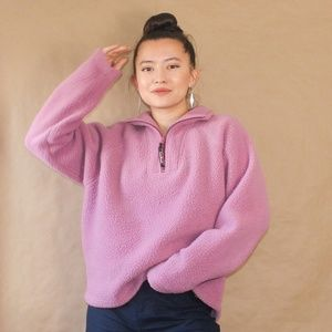 vtg 90s fuzzy pink l.l. bean pullover sweater